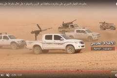 From left to right: ATGM-mounted truck, MG-mounted truck, technical, recoilless rifle-mounted jeep.