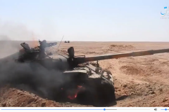 The militia's destroyed T-62.
