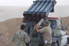 An improvised GRAD launcher used to attack ISIS-held Humaymah on August 14th.