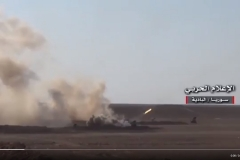 Between three and four GRAD launchers launch a volley of rockets at an incoming ISIS attack near Humaymah on August 9th.