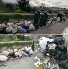 A January 2018 post from Ayn Shiqaq depicting over a month's worth of trash buildup.