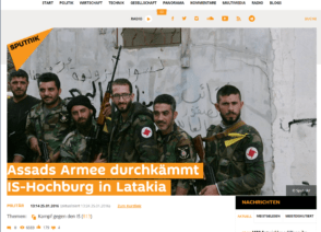 "The headline from Sputnik Deutschland, Sputnik News' German-language news site, reads: ""Assad's Army Sweeps IS Stronghold in Latakia."""