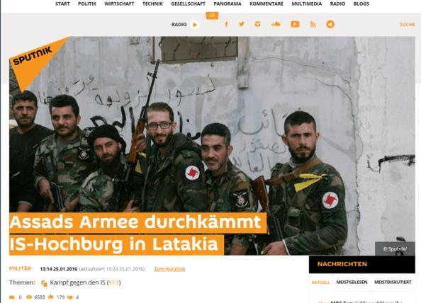 "The headline from Sputnik Deutschland, Sputnik News' German-language news site, reads: ""Assad's Army Sweeps IS Stronghold in Latakia."""