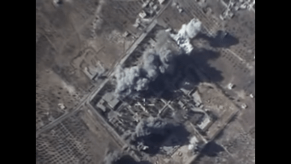 Russian Ministry of Defence video on the airstrike on what was claimed to be an ISIS training camp in rural Idlib province on October 12, 2015.