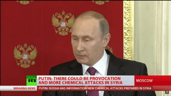 Still from an RT report on a press conference given by Vladimir Putin on April 11, where the Khan Shaykhun false-flag narrative was officially endorsed by the Russian President himself.