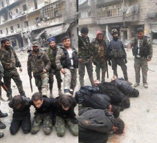 سليمان الحايك(الشخص الثاني على اليسار في الصورة اليسارية)مع مسلحين اخرين يظهرون فوق ما يعتقد انه اعدام 4 سجناء في حلب