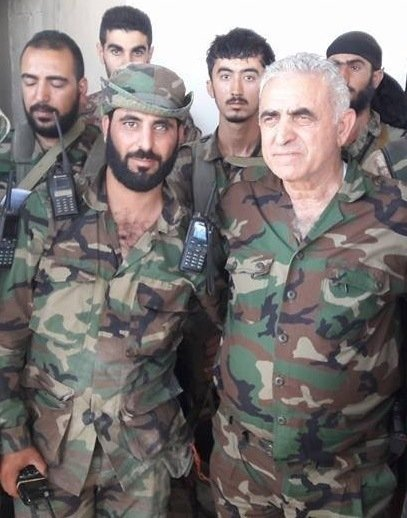 Suleiman al-Hayek (left) with Major General Jamil al-Hassan (right) on October 20, 2016.