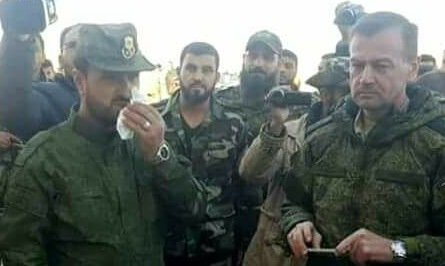 From Ledt to right: Suheil al-Hassan, Ahmed Nabhan, Russian General