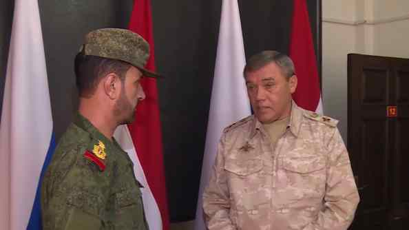 Suheil al-Hassan is awarded by Russian Chief of Staff Valery Gerasimov on August 20, 2017.