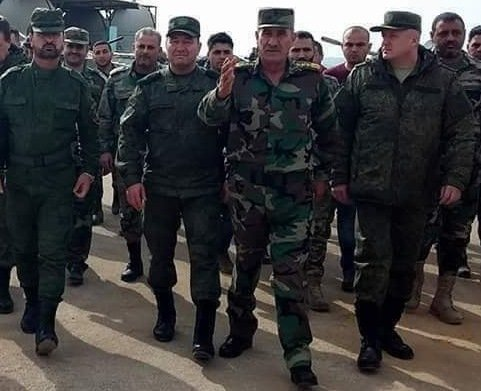 Suheil al-Hassan and Brigadier General Salah Abdullah Saba'a meet with Russian officers on May 11, 2018.