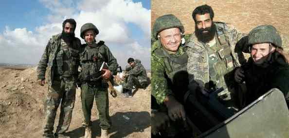 Hoareth field commander Zain al-Abadeen Abu Ali with Russian soldiers in October 2015.