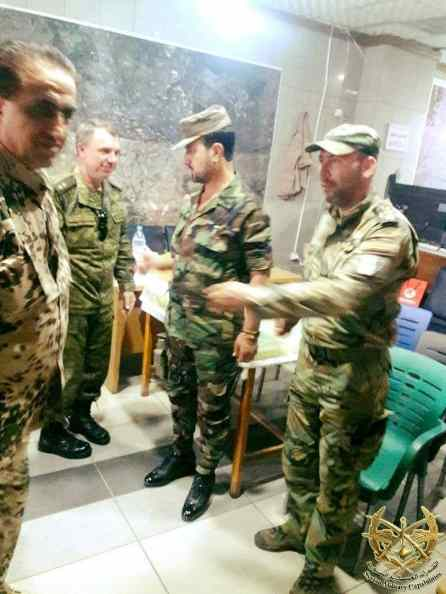 Major General Ziad Salah (left) with Suheil al-Hassan and