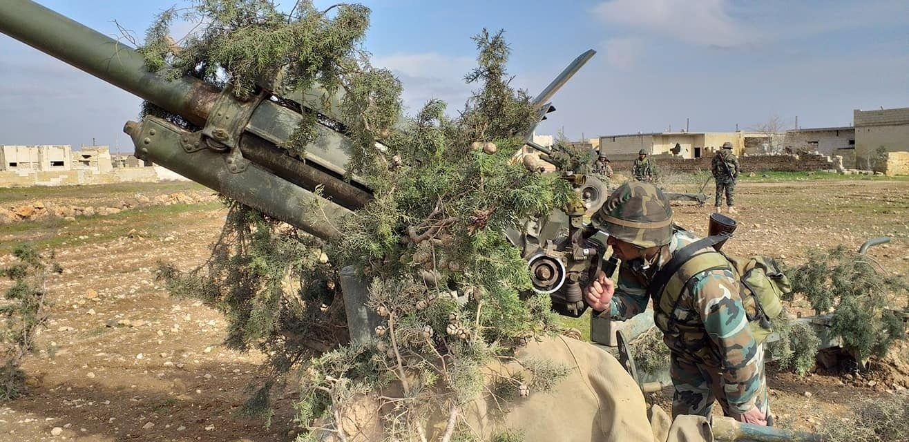 5th Corps' 5th Brigade artillery in east Idlib