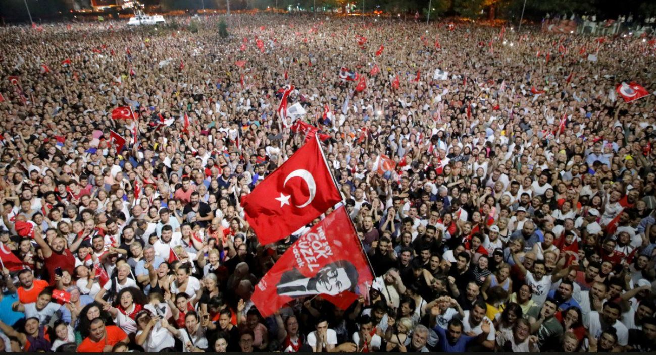 Supporters gather in Istanbul after Imamoglu's victory on June 23.