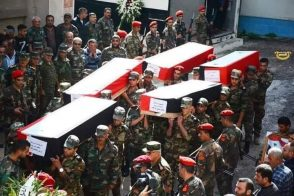 Coffins of Syrian Arab Army soldiers brought to the Latakia Hospital after being killed in clashes, November 2019.